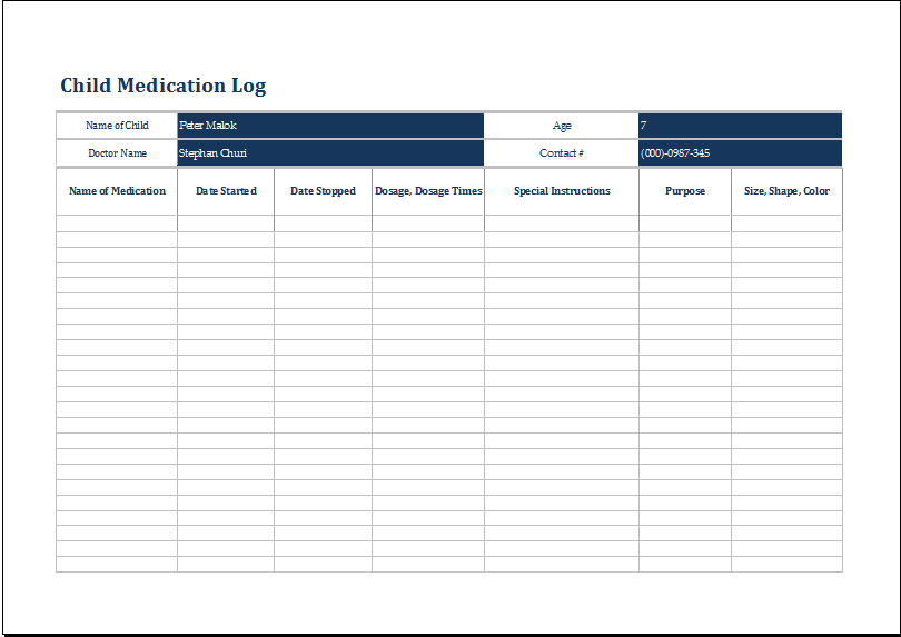 MS Excel Child Medication Log Template | Printable Medical Forms ...