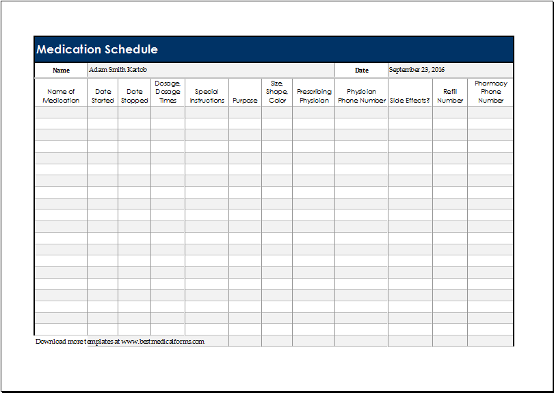 Daily medication schedule template for excel printable for Blank medication list templates