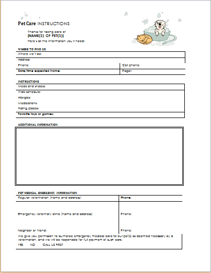 Pet Care Instructions Form for WORD | Printable Medical Forms, Letters ...