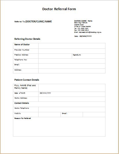 Doctor Referral Form Templates | Printable Medical Forms, Letters