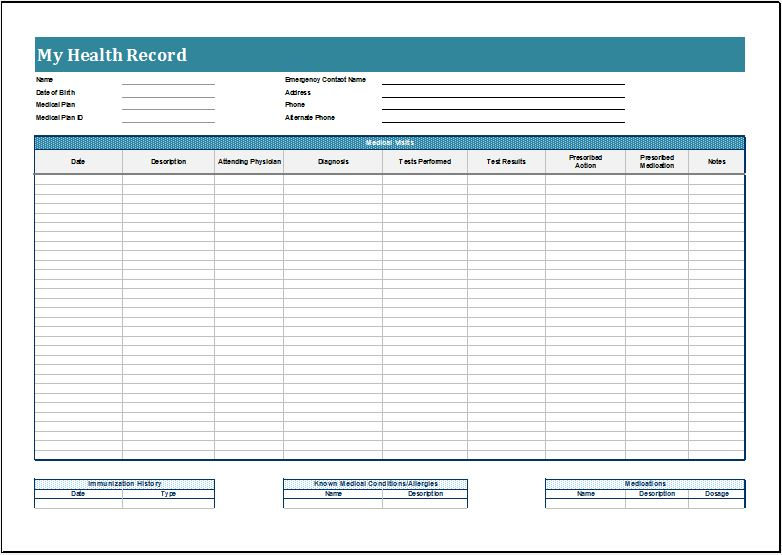 Personal health record sheet