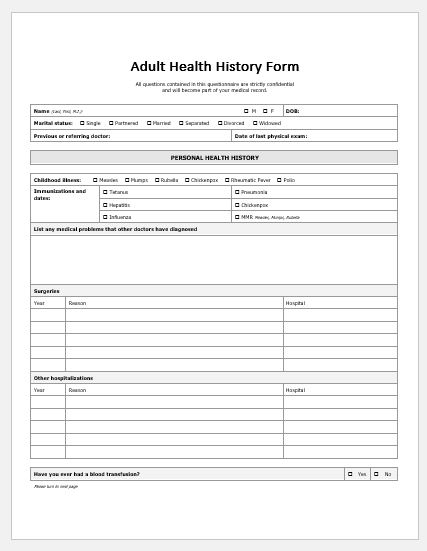 adult health history form template