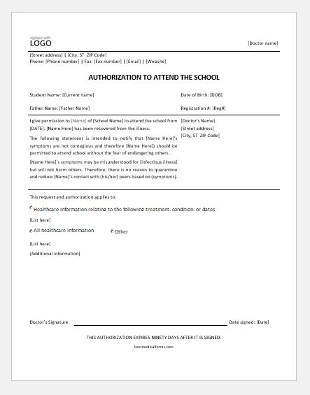 Authorization form for a child to return to school after illness