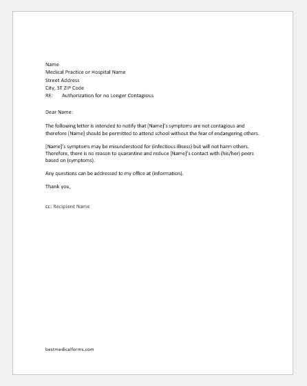 Doctor Authorization Letter to Student for not Contagious