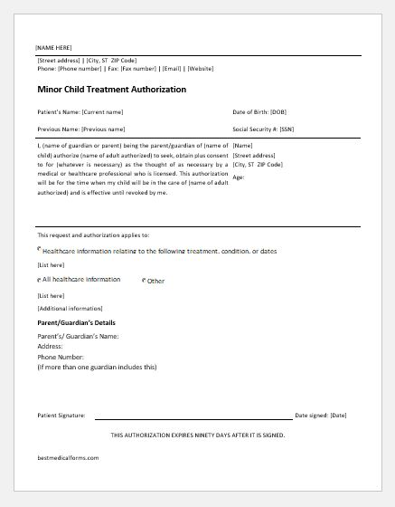 Minor Child Treatment Consent Form  Printable Medical Forms