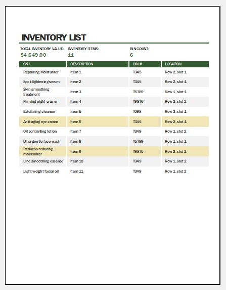 Skincare products inventory template