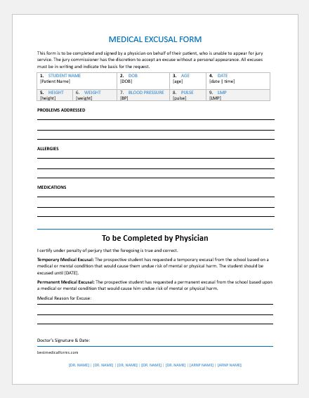 Student medical excusal form