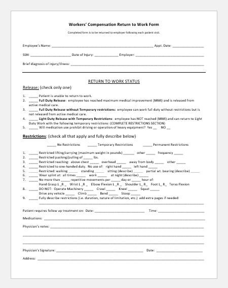 Doctor referral form to employer to restrict the working hours