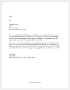 Pregnancy Work Restriction Letter
