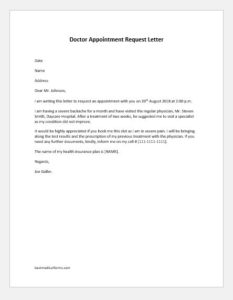 Doctor Appointment Request Letter