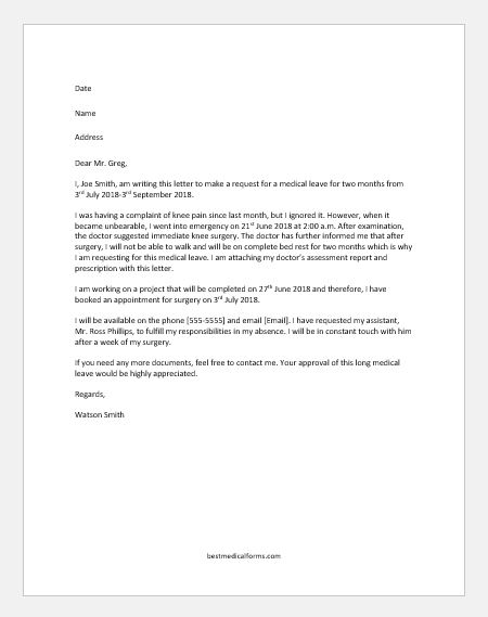 Leave Of Absence Letter From Employer To Employee from www.bestmedicalforms.com