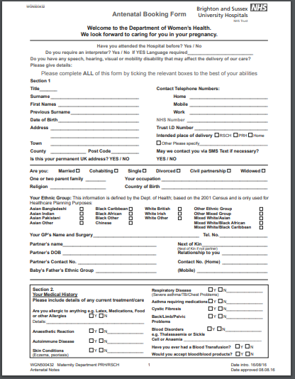 Antenatal booking visit form PDF