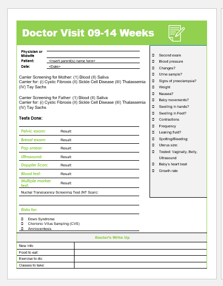 Doctor visit form week 09-14