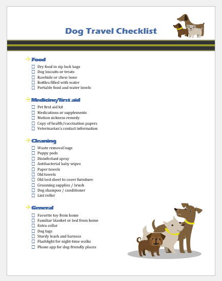 Dog Travel Checklist Template For Ms Word Printable Medical Forms Letters Sheets