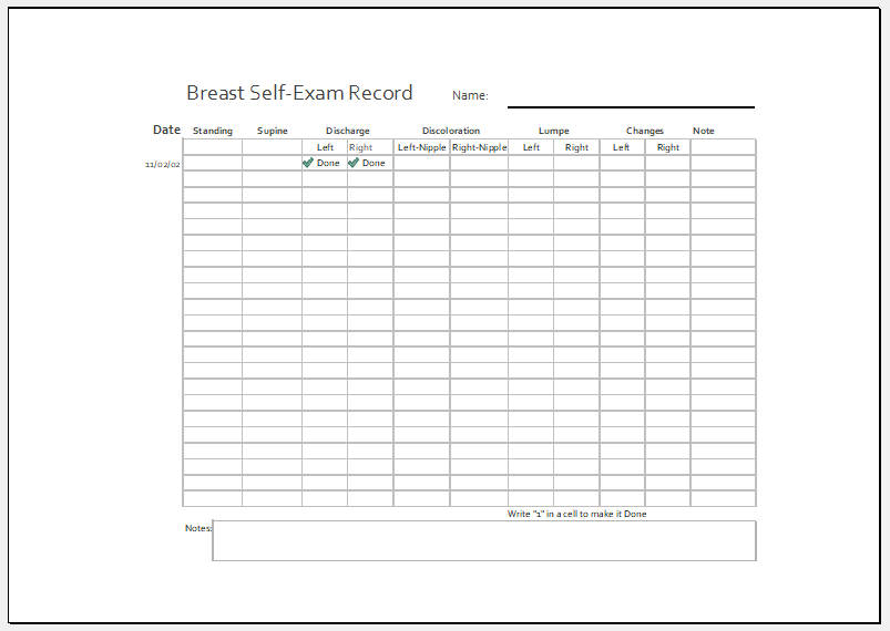 Breast self examination record sheet