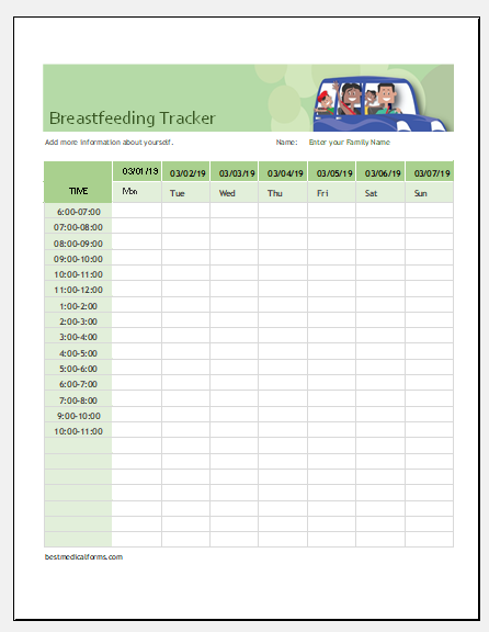 Breastfeeding tracker template