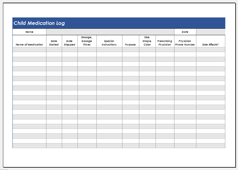 Child medication log template