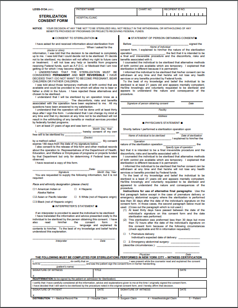 Sterilization consent form sample