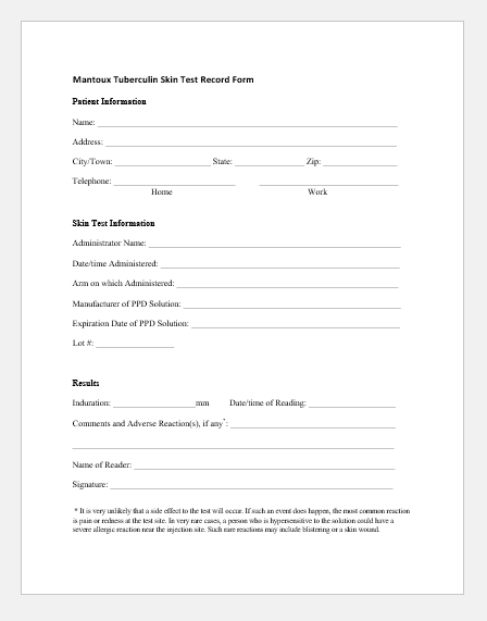 Tuberculosis Skin Test Record Form