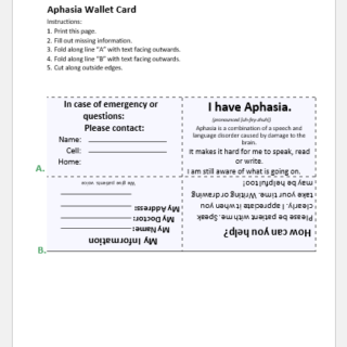 Aphasia wallet card template