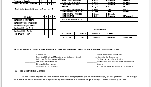 Dental Examination Record Form