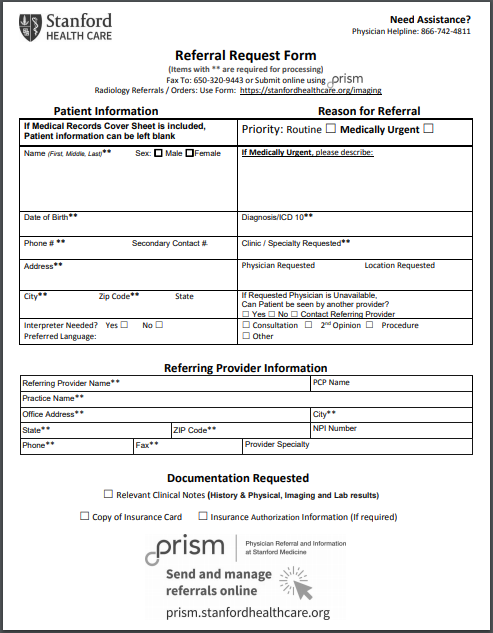 Doctor referral form