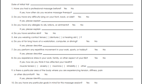 Massage client intake form template