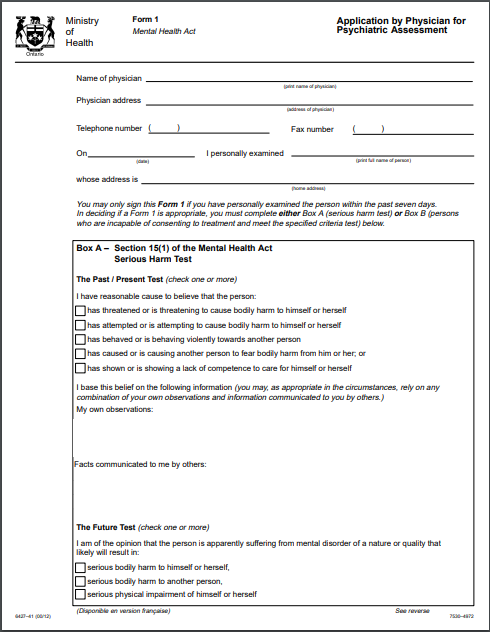 Mental health form
