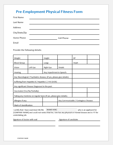 Pre-Employment Physical Fitness Form