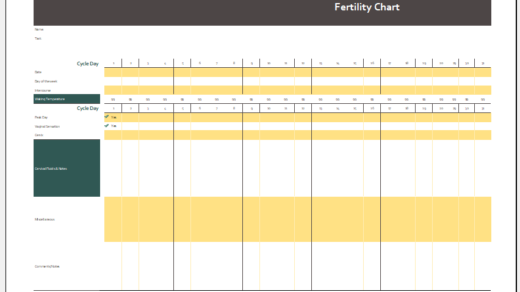 Rhythm Method Fertility Chart