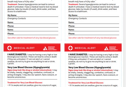 Wallet-Sized Diabetes Information Card