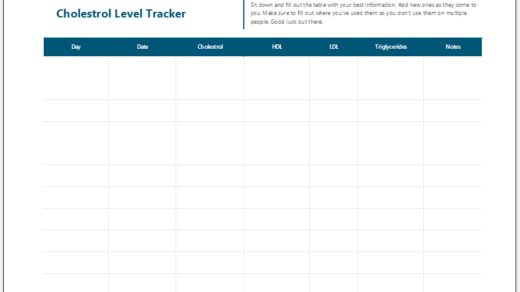 Cholesterol level tracker template