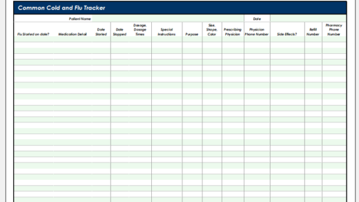 Common cold and flu tracker template