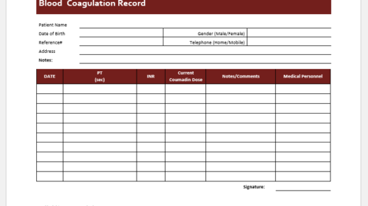 Blood coagulation tracker template
