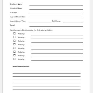Doctor Visit Preparation Form Template