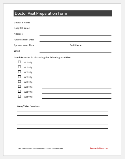 Doctor Visit Preparation Form Template