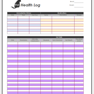 Dog health log template