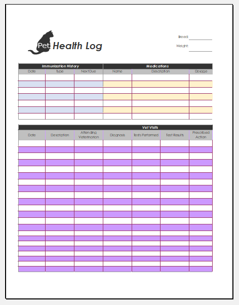 Dog/Cat Health Log Templates for Excel | Printable Medical