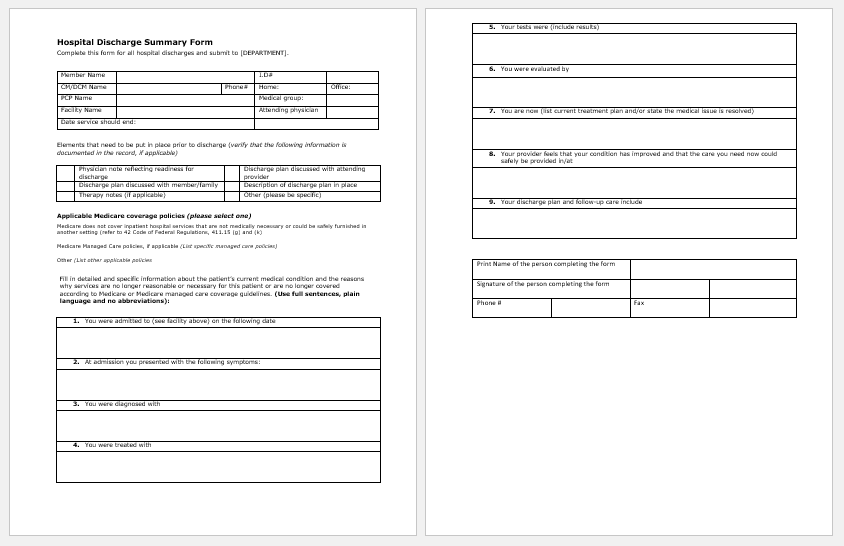Hospital Discharge Paper Template For Word Printable
