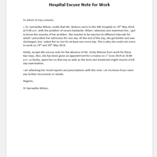 Hospital excuse note for work