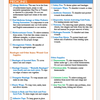 Household Child First Aid Kit Checklist Template