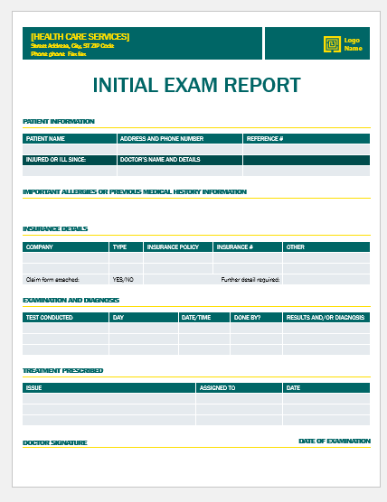 Initial examination report template