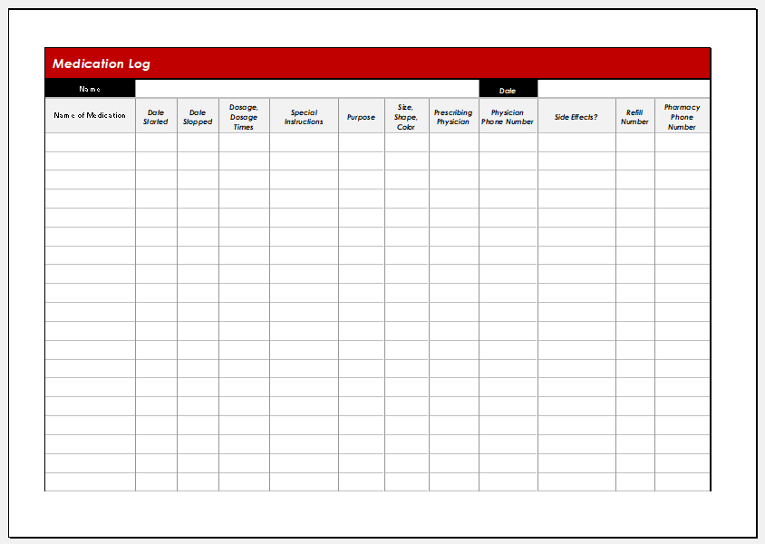 Parkinson medication log template