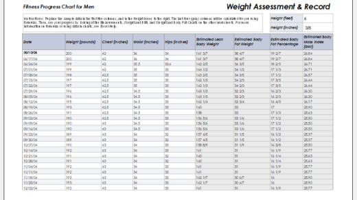 Weight assessment and record sheet