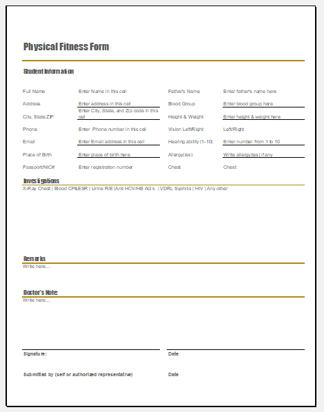 Student physical fitness form template