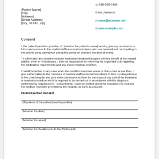 Clinical consent form