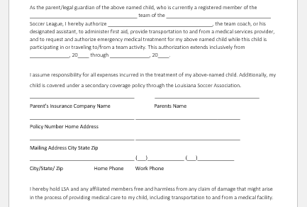 Health consent form template