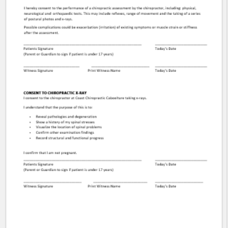 Chiropractic Intake Form Template