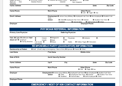 Patient Demographic Form