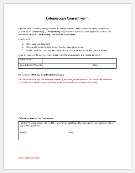 Colonoscopy Consent Form